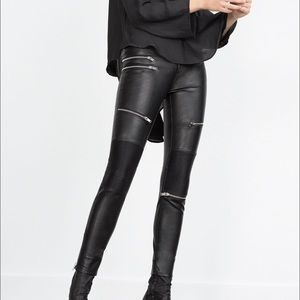 ZARA LEATHER BIKER PANTS